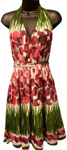 Anna Sui short dress green, red, pink, white Floral Foses Halter on Tradesy