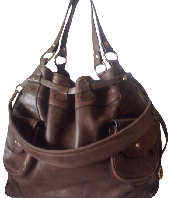 "Item - ""Take Me Anywhere"" Shoulder Taupe Leather Tote"