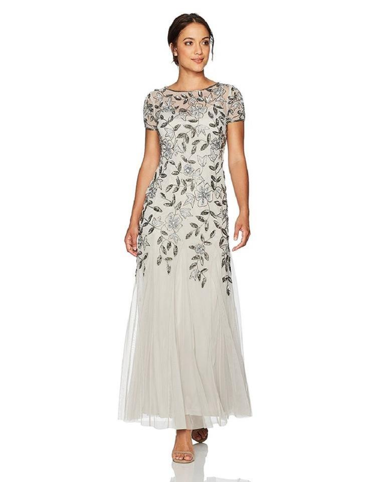 Adrianna Papell Silver Floral-beaded Gown 8p Long Formal Dress Size ...