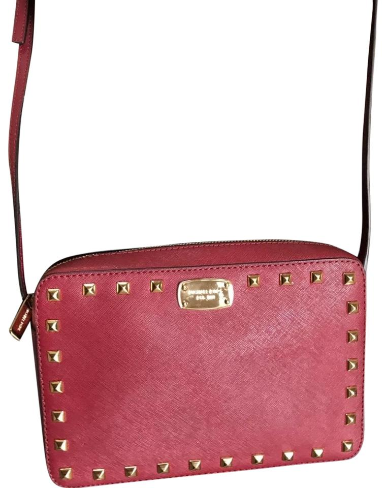 738efdd3a4e9c7 Michael Kors Saffiano Studded Large Cherry Leather Cross Body Bag ...