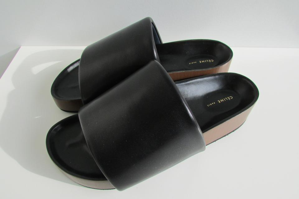 fe4d1c7431c5ad Céline Black Leather Boxy Padded Band Sandal Flats Size EU 39 ...