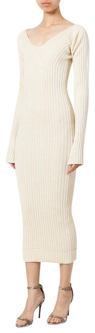 Item - Cream Ribbed Knit Sweater Mid-length Casual Maxi Dress Size 4 (S)