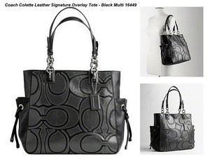 Coach Leather Patent Leather Chain Tote in Black/Dark Grey/Silver