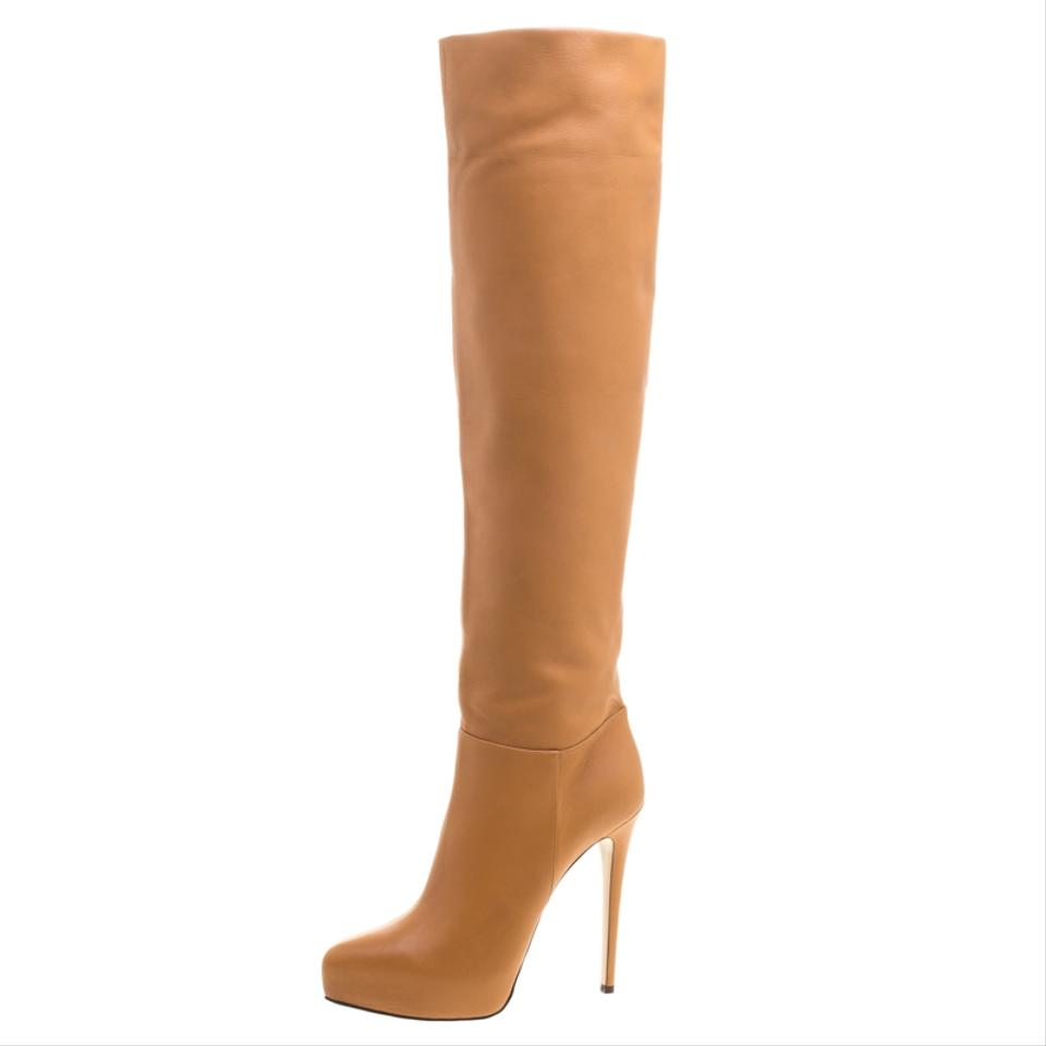 Le Le Le Silla Brown Caramel Leather Over The Knee Boots/Booties 37a0d5