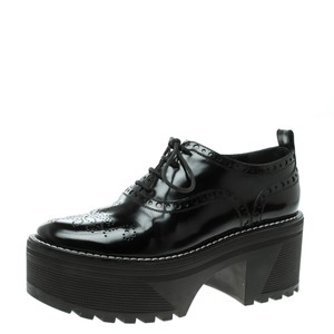 41a100186e96 Louis Vuitton Black Brogue Leather Fighter Platform Oxfords Flats ...