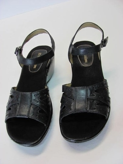 NATURALIER Leather Size 7n BLACK Wedges
