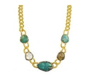 Alexis Bittar Gold and turquoise necklace