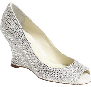 Benjamin Adams Crystal Wedge Pump Bridal Wedding Ivory Formal