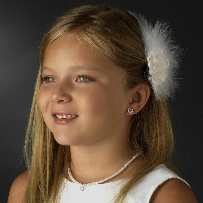 Item - Silver White Children's Necklace Earring Faux Pearl Flower Girl Accessory
