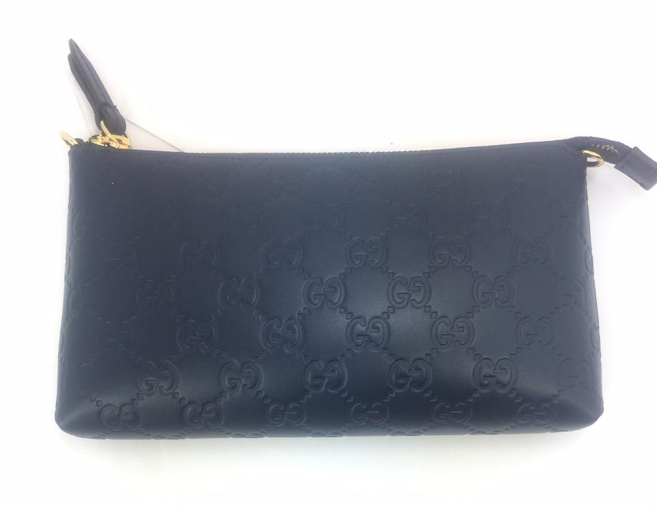 e4c7aa43410 Gucci Gg Guccissima Chain Wrist Wallet  428449 Navy Blue Leather ...