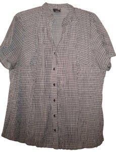 East 5th Essentials Short Sleeve Crinkled Button Front Button Down Shirt Multi-Color
