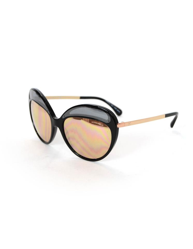 e0ef1d3bb819 Chanel Chanel Black   Rose Gold Butterfly Mirror Sunglasses with Box and  Case Image 0 ...