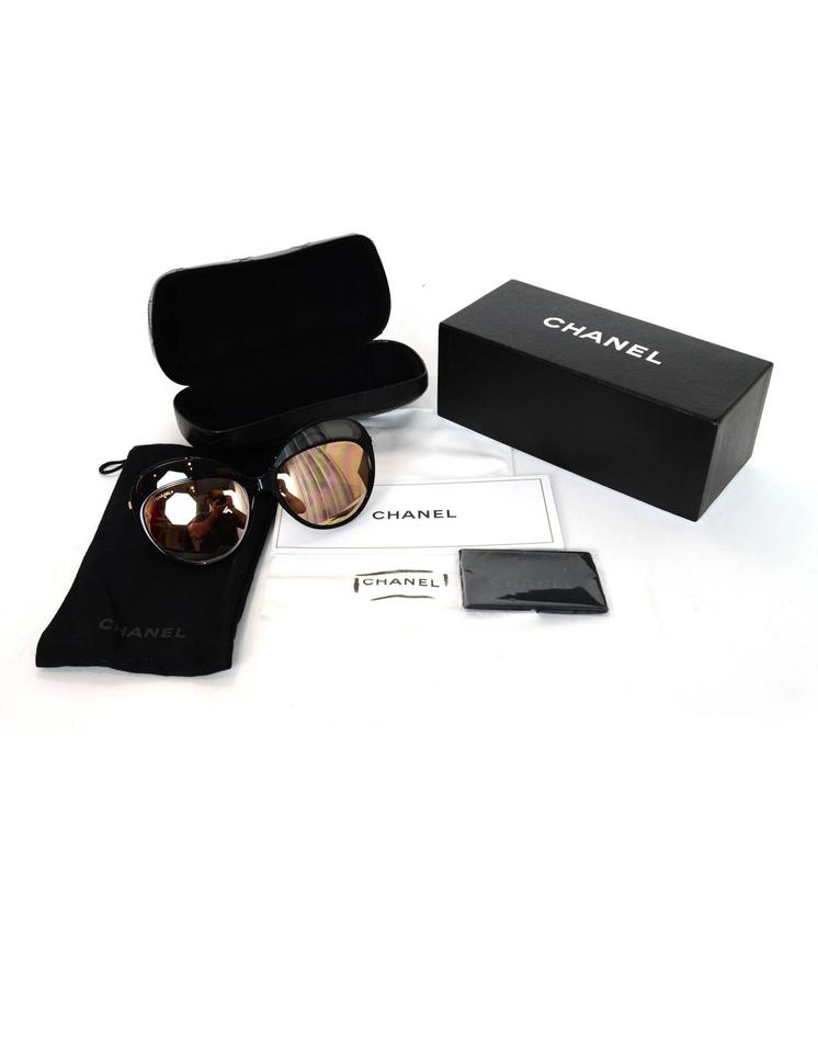 0bd82162ab98 Chanel Chanel Black   Rose Gold Butterfly Mirror Sunglasses with Box and  Case Image 7. 12345678