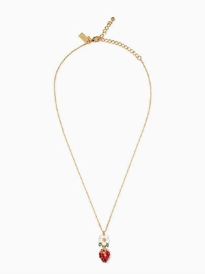 Kate Spade KATE SPADE Picnic Perfect Strawberry Mini Pendant Necklace Gold Plated