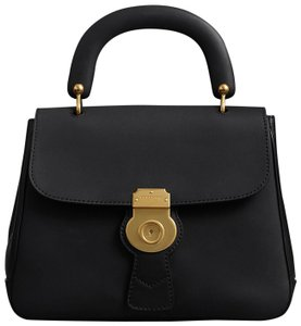 Burberry Leather Gold Hardware Crossbody Top Handle Trench Leather Satchel in Black