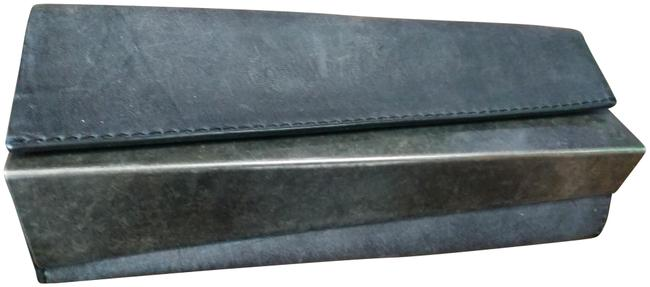 Item - Triangular Bar Black Pewter Distressed Leather and Metal Clutch