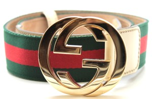 Gucci GG green red white cream stripe logo gold buckle leather canvas Belt