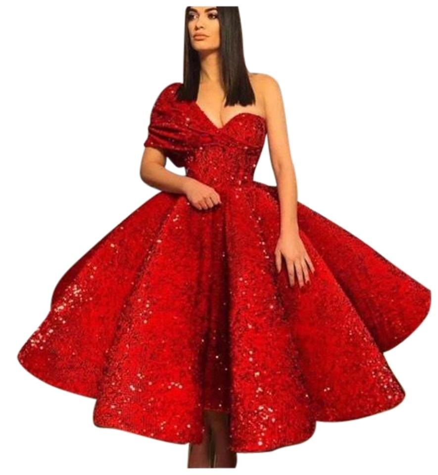 Red Couture Handmade Full Sequin Gown Long Formal Dress Size 6 (S ...