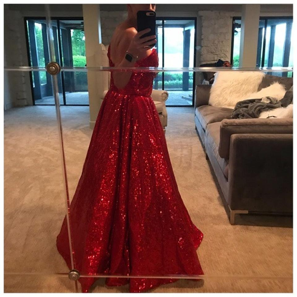 09b9220e Red Couture Handmade Full Sequin Gown Long Formal Dress Size 6 (S ...