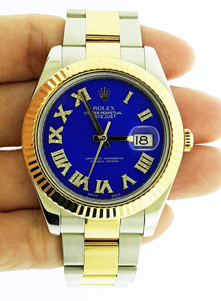 Rolex Blue Datejust Ii 18k Yellow Gold Fluted Bezel Dial 41mm Watch