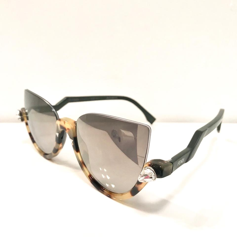 5010a1a2fb9cf Fendi Gray Crystal Blink Half Rim Sunglasses - Tradesy