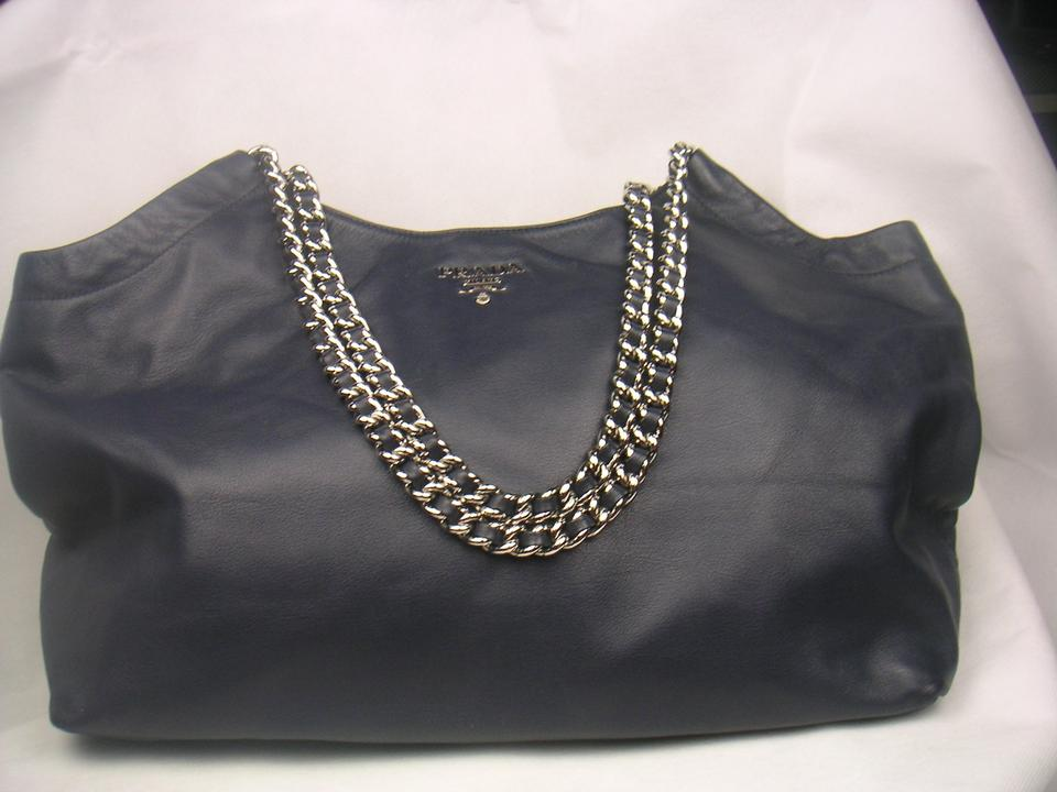 Calf Chain Leather Cabas Shoulder Blue Cervo Navy Prada Tote Deerskin xIZHEwqHO