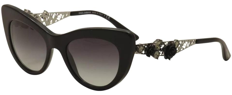 113e587d197 Dolce Gabbana Black Silver Roses Cat Eyes Sunglasses - Tradesy