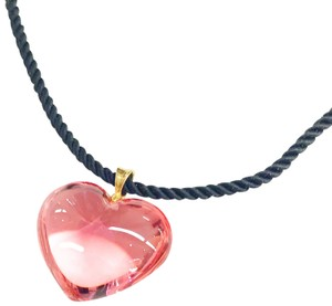 Baccarat Baccarat Gold Pink Crystal Heart Pendant Necklace