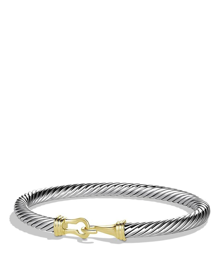 David Yurman Like New Size Small 5 Mm Cable Buckle Bracelet With Gold