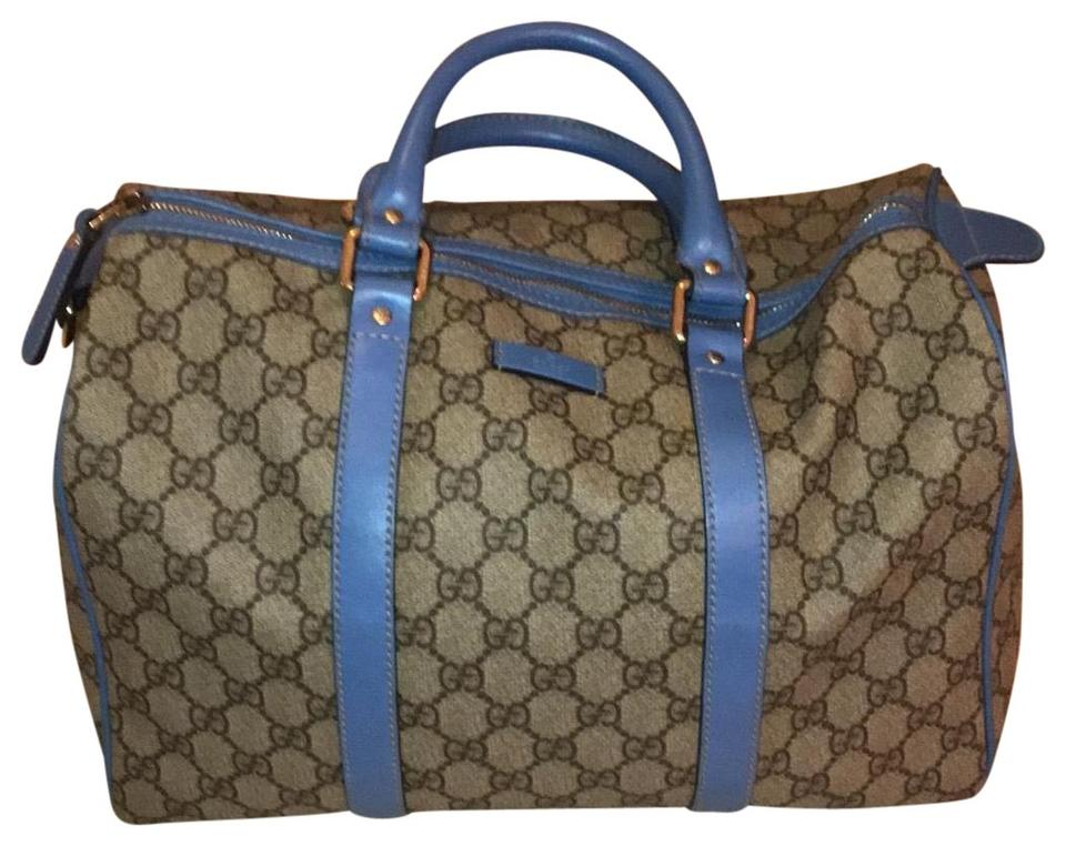 45384775514 Gucci Boston Classic Beige with Blue Accents and Ebony Gg Leather ...