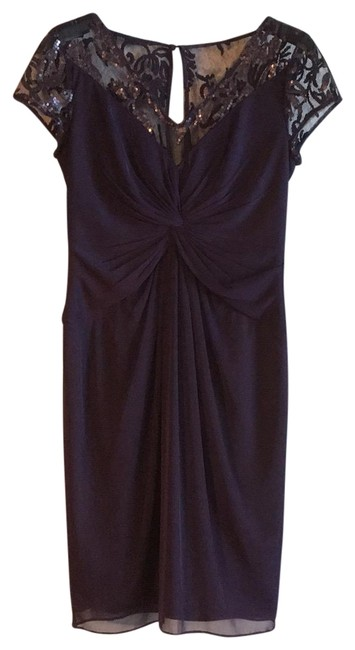 Item - Purple Floral Stretchy Formal Midi Mid-length Cocktail Dress Size 6 (S)