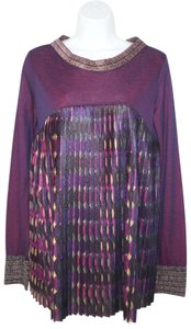 Save The Queen Pleated Knit Stretch Purple Top