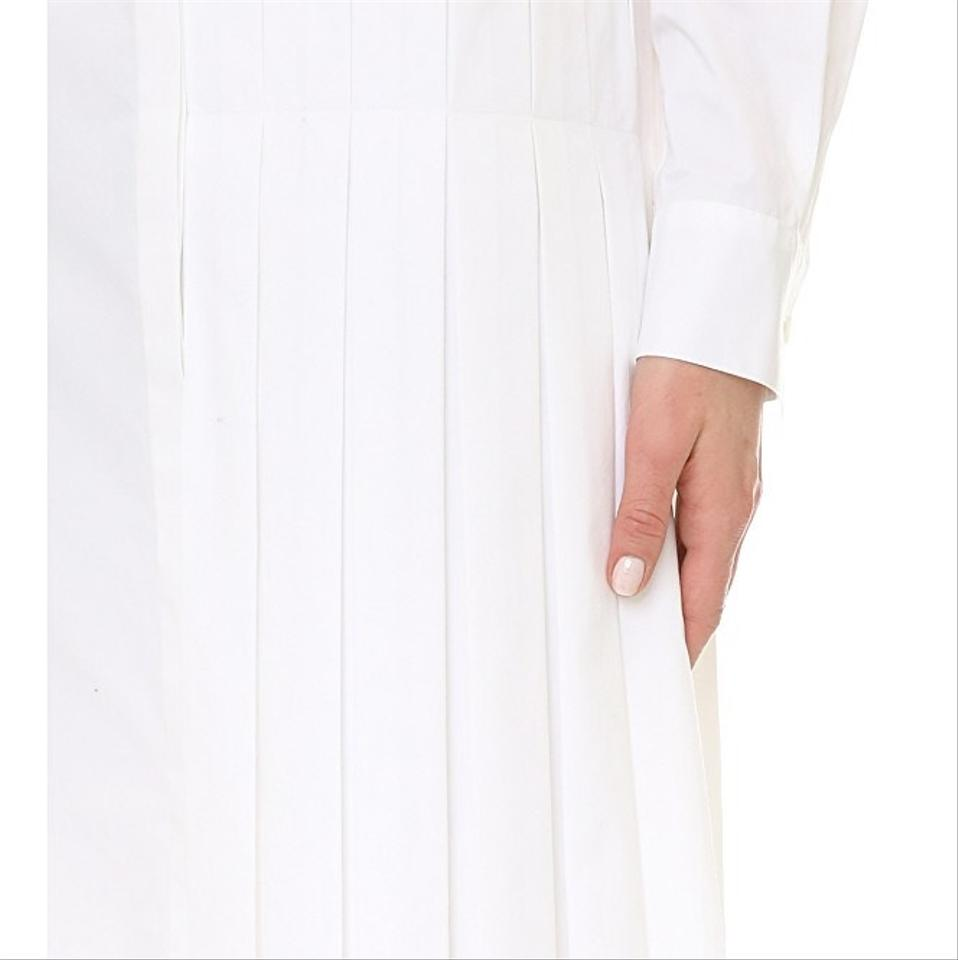 Dkny White Pleated Skirt Detail Shirtdress Mid Length Short Casual