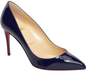 Christian Louboutin Pigalle Patent Red Bottom Navy Blue Pumps