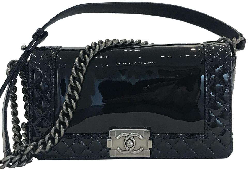 4770feb3ad9b Chanel Boy Medium Reverso Blue Patent Leather Shoulder Bag - Tradesy