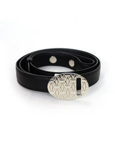 Cartier Cartier Black Leather Logo Belt with Box, DB
