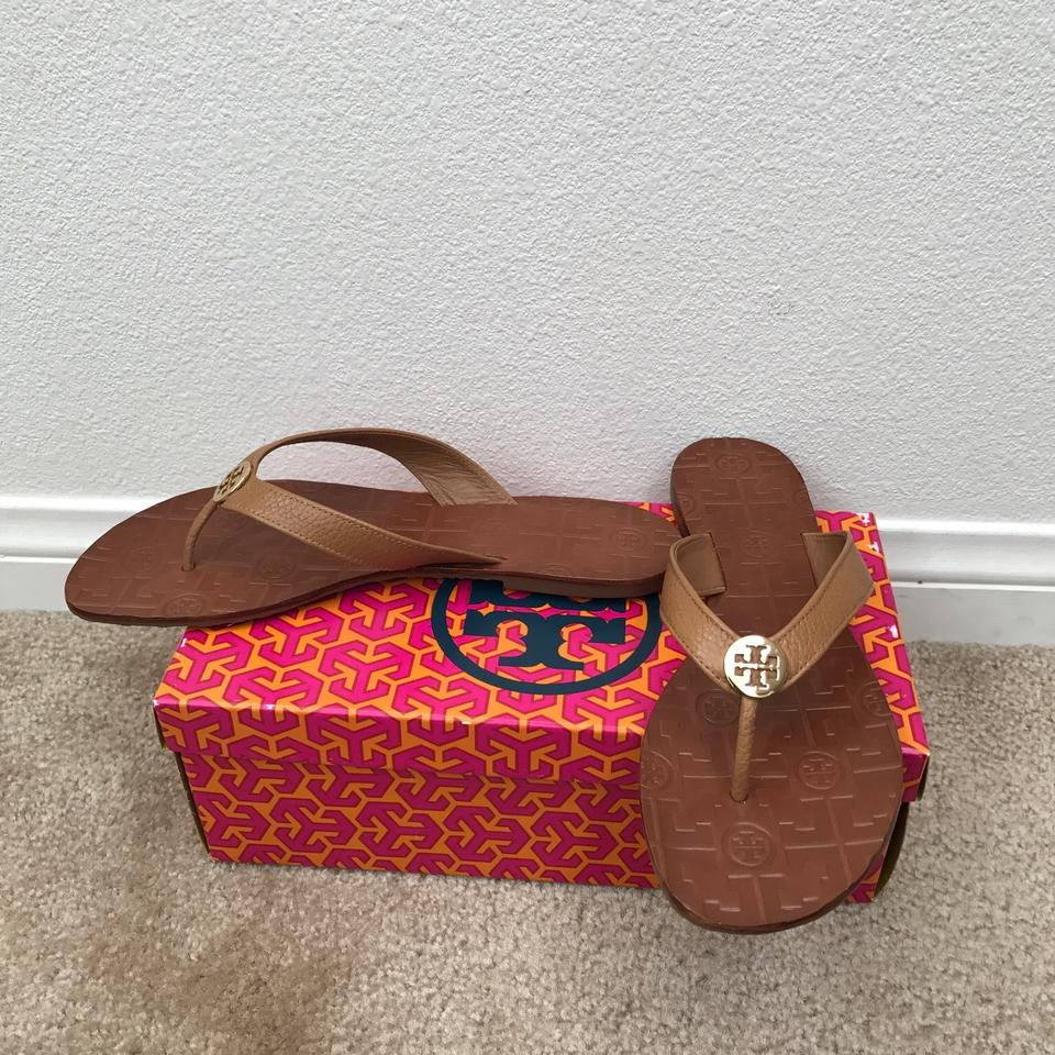 Tory Burch Royal Tan/Gold Leather 8.5m Thora Thong Leather Tan/Gold Sandals c3565d