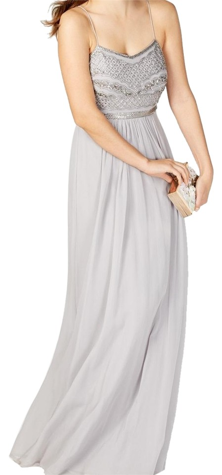 Adrianna Papell Silver Beaded Chiffon Gown Long Formal Dress Size 16 ...