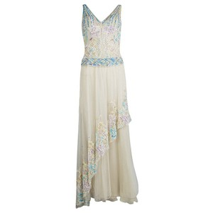 Beige Maxi Dress by Zuhair Murad Couture Contrast Embellished Sleeveless