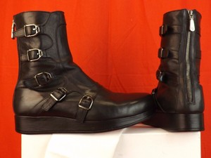 ab050519fe2 Versace Black Leather Belted Buckles Logo Combat Platform Boots 44 11 Italy  Shoes