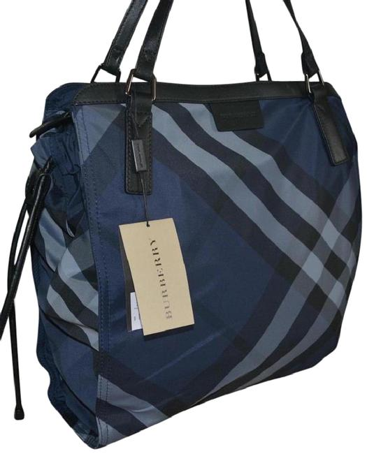 Item - Small Buckleigh Packable Navy Check Nylon Tote