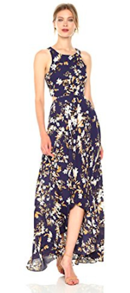 9a374b56db9 Navy Floral Multi Maxi Dress by Ali   Jay High Low Hem Cut Out Exposed Zip  ...