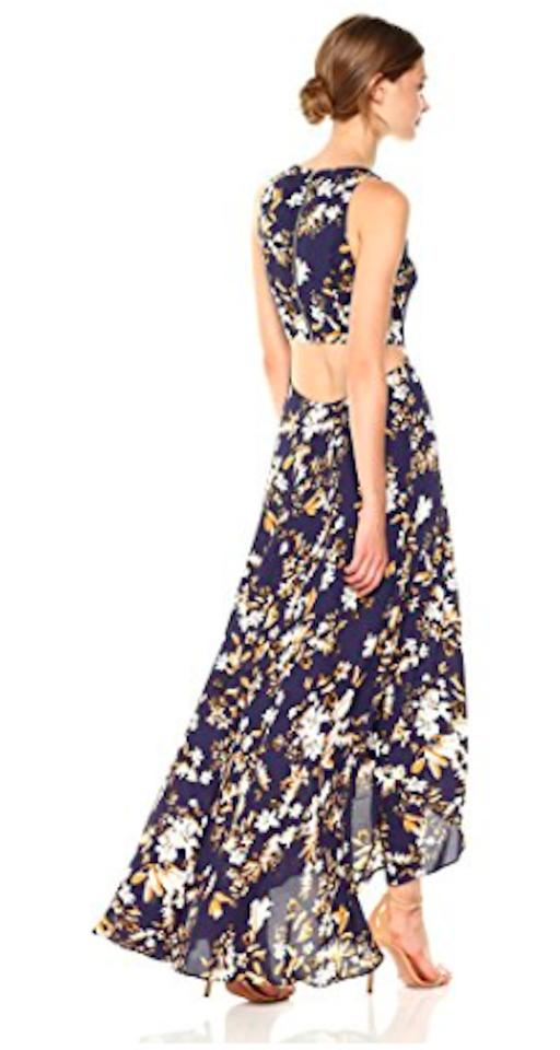 f645c0c54ac5 Navy Floral Multi Maxi Dress by Ali & Jay High Low Hem Cut Out Exposed Zip.  1234