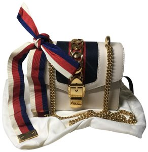 590030076 Added to Shopping Bag. Gucci Cross Body Bag. Gucci Sylvie Mini White Leather  ...