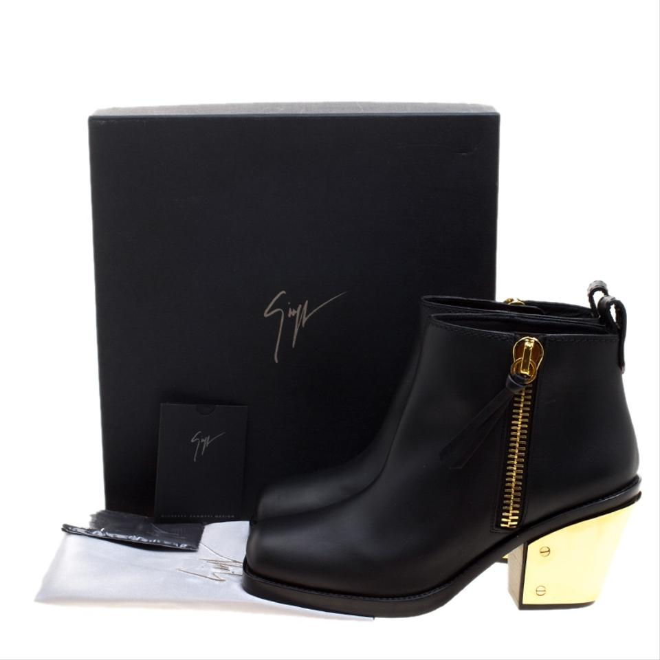 79a50447fe371 Giuseppe Zanotti Black Leather Gold Heel Ankle Boots/Booties Size EU ...