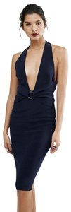 Bec & Bridge Cut-out Halter Black Waist Detail Stretchy Dress