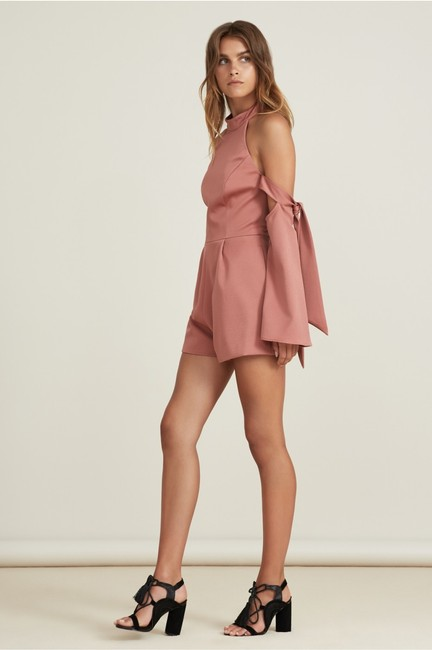 Finders Keepers Cold Shoulder Fitted Halter Pink Dress Image 1