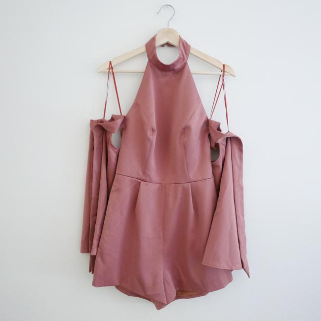 Finders Keepers Cold Shoulder Fitted Halter Pink Dress Image 3