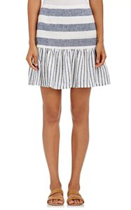 Skin Linen Cotton Striped Flare Mixed Print Skirt Blue/White