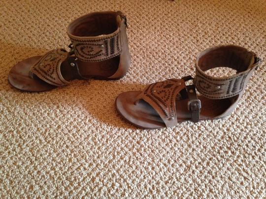 Ash Gladiator Leather Tan and Brown Sandals Image 6